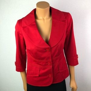 Vex Collection red blazer 3/4 sleeve lined SzXL